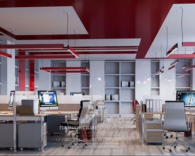 Дизайн офиса в красных тонах