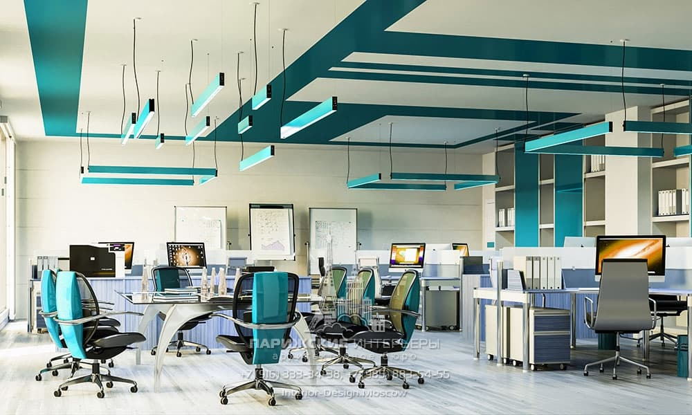Бирюзовые оттенки в современном офисном пространстве