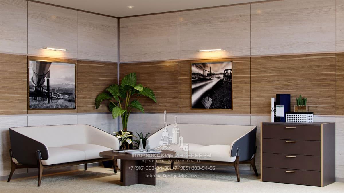 Бежево-шоколадные оттенки в дизайне офисного кабинета