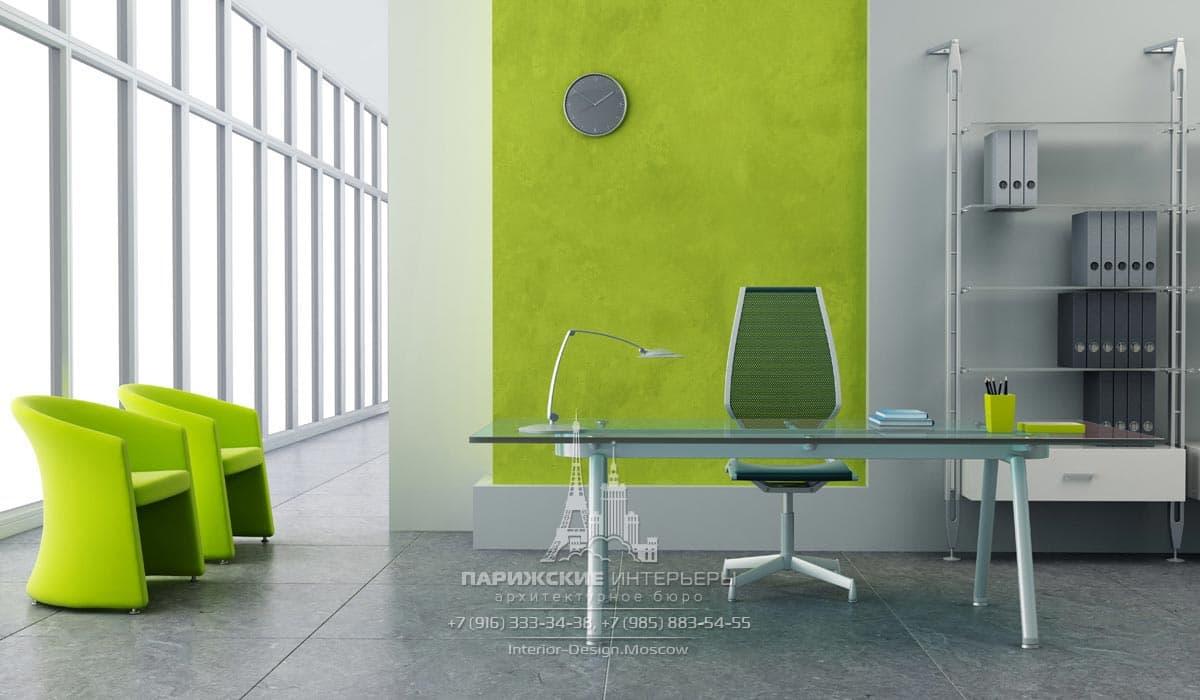 Оттенки сочного лайма в современном офисе