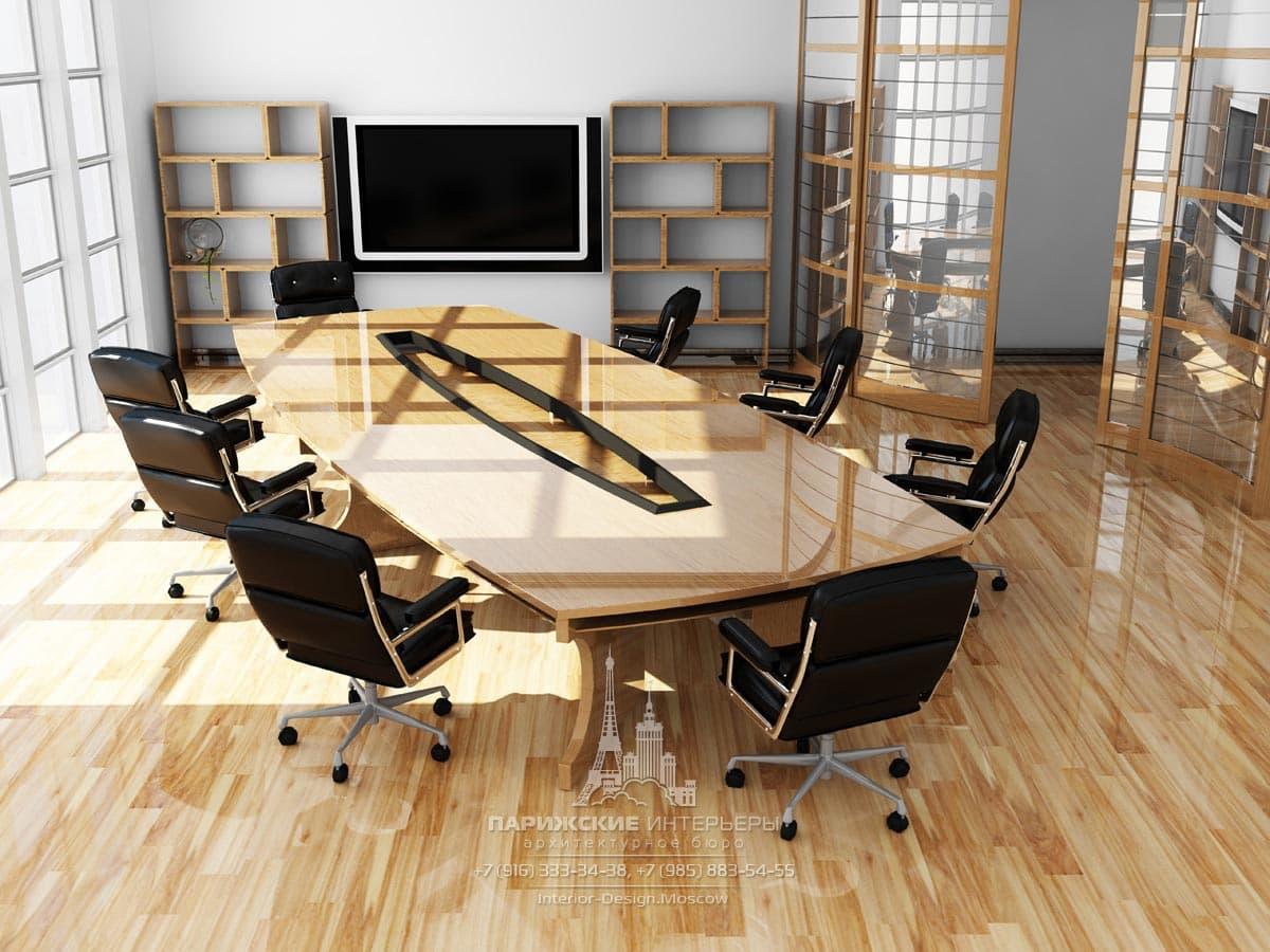 Переговорная в офисе с черными стульями и оттенками натурального дерева