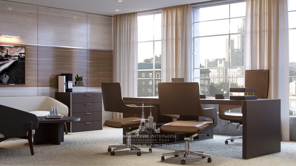 Панорамные окна с кремовыми занавесками в современном офисе