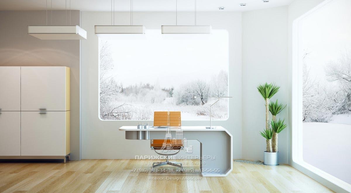 Панорамные окна со скругленными углами в современном офисе
