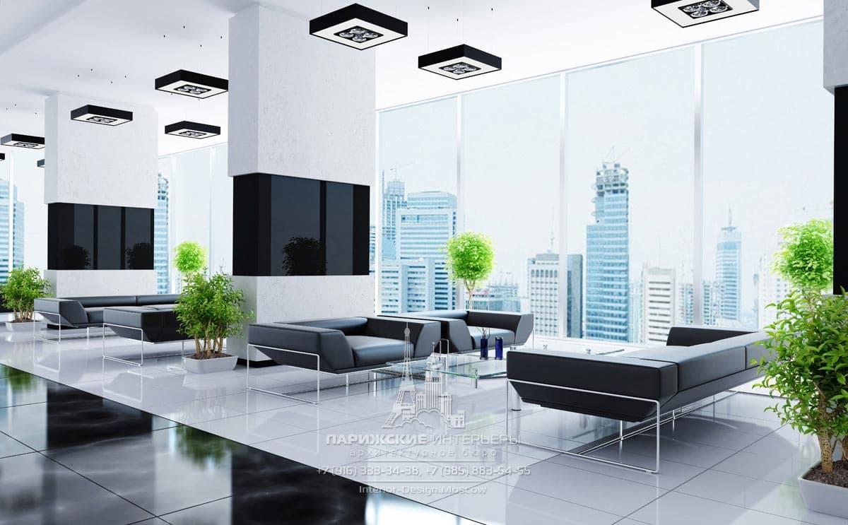 Лаунж-зона современного офиса с панорамными окнами