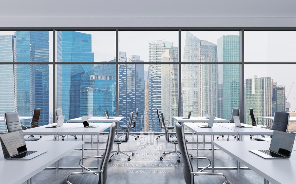 Парные белые столики в Open Space с панорамными окнами