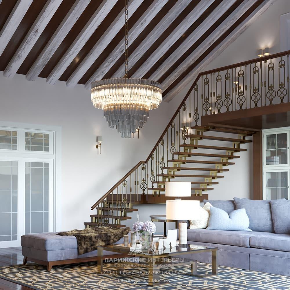 Интерьер гостиной со вторым этажом в дизайне загородного дома