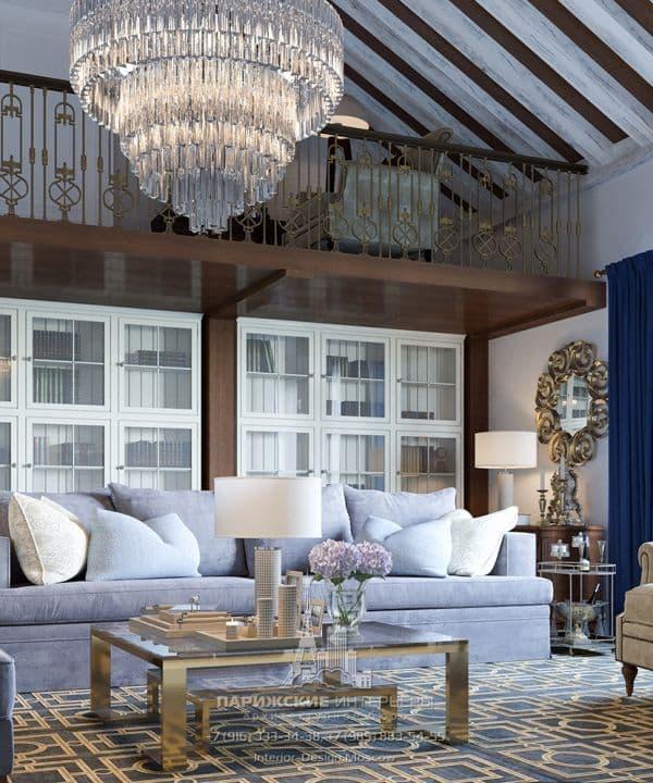 Современный дизайн гостиной в классическом