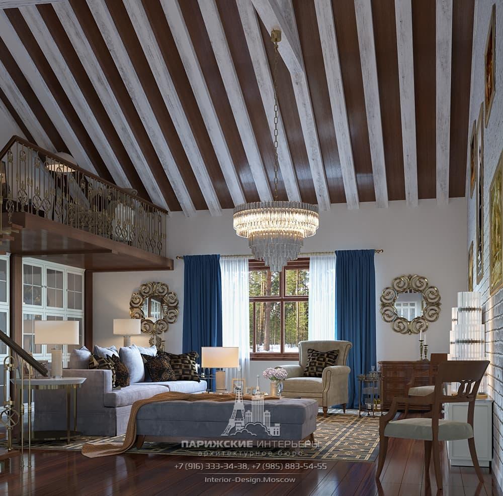 Интерьер гостиной со вторым светом в загородном доме