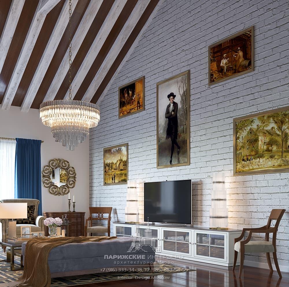 Интерьер гостиной частного дома с ТВ-зоной и картинной галереей