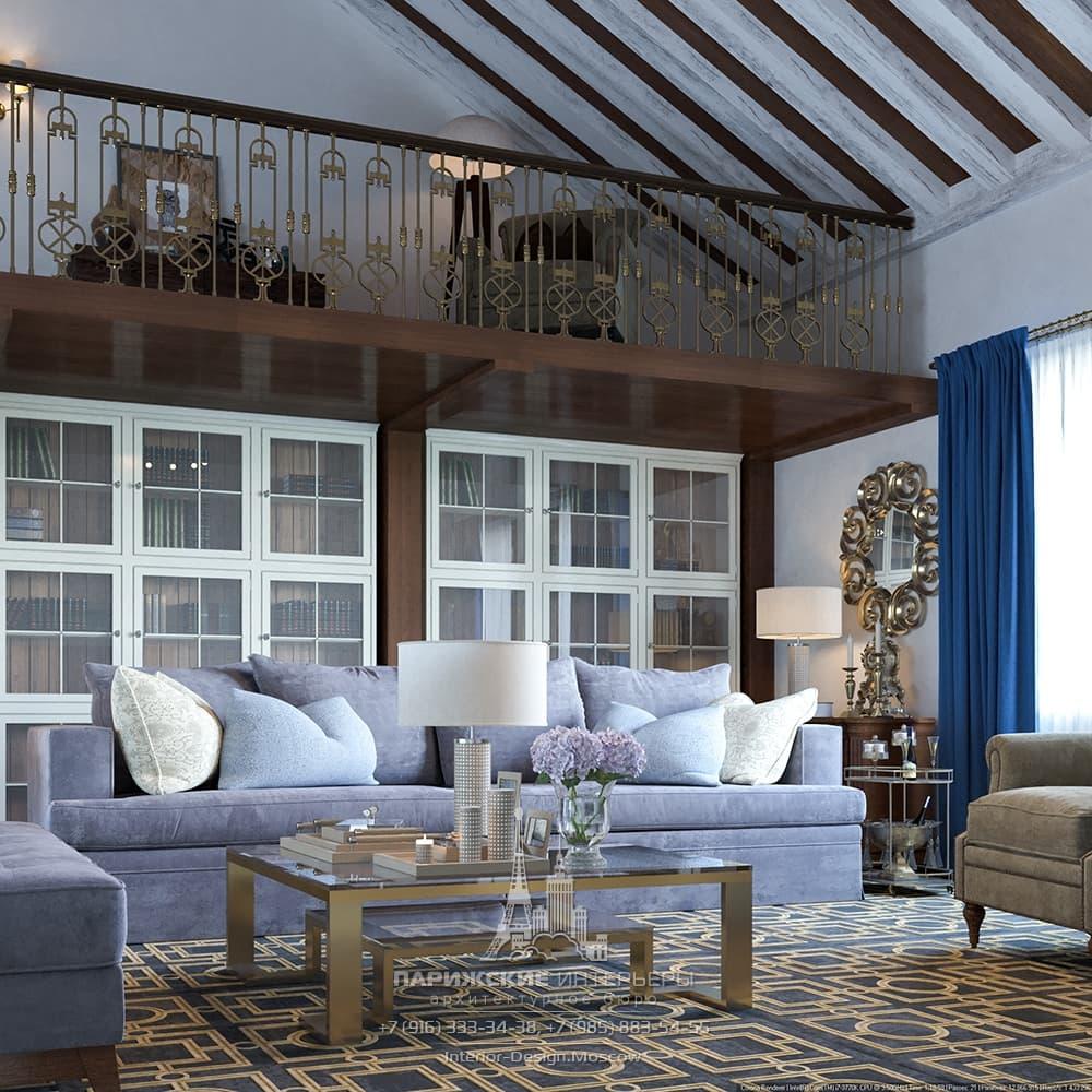 Дизайн интерьера двухэтажного загородного дома в парижском стиле