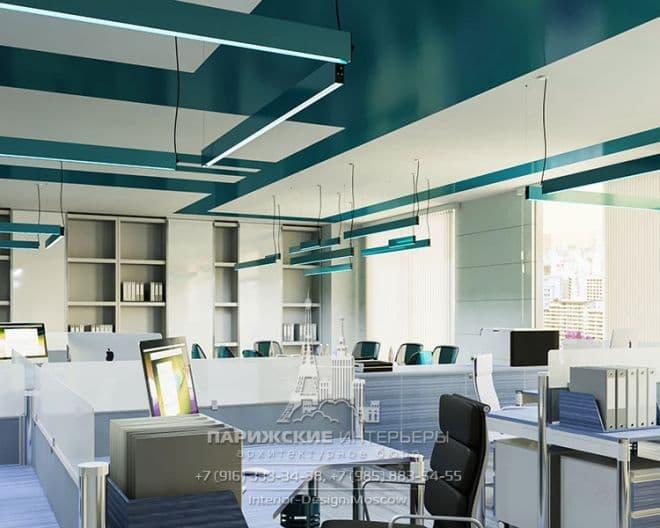 Дизайн офиса в бирюзовых тонах