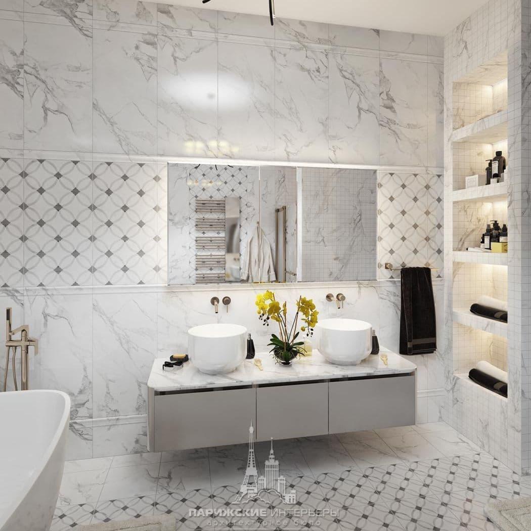 Дизайн ванной комнаты в стиле французская классика