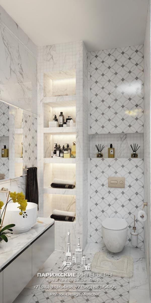 Интерьер ванной комнаты в парижском стиле