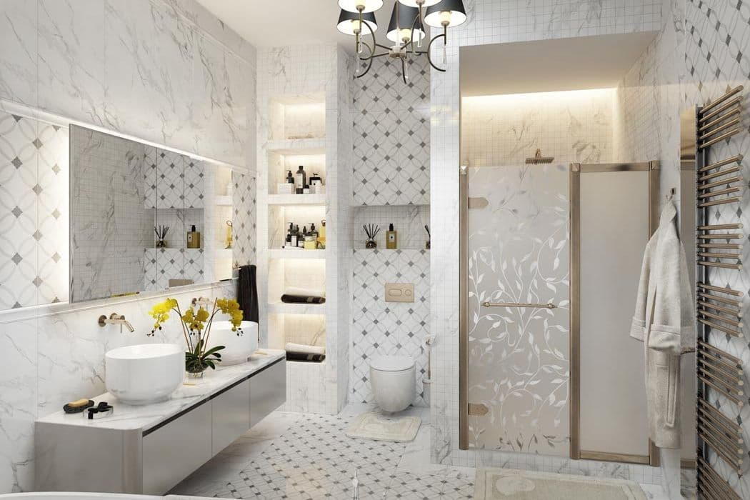 Дизайн ванной комнаты в парижском стиле. Фото интерьера
