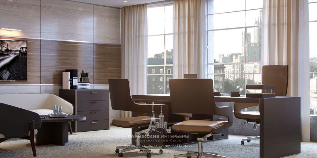 Дизайн офиса в бежево-коричневой гамме