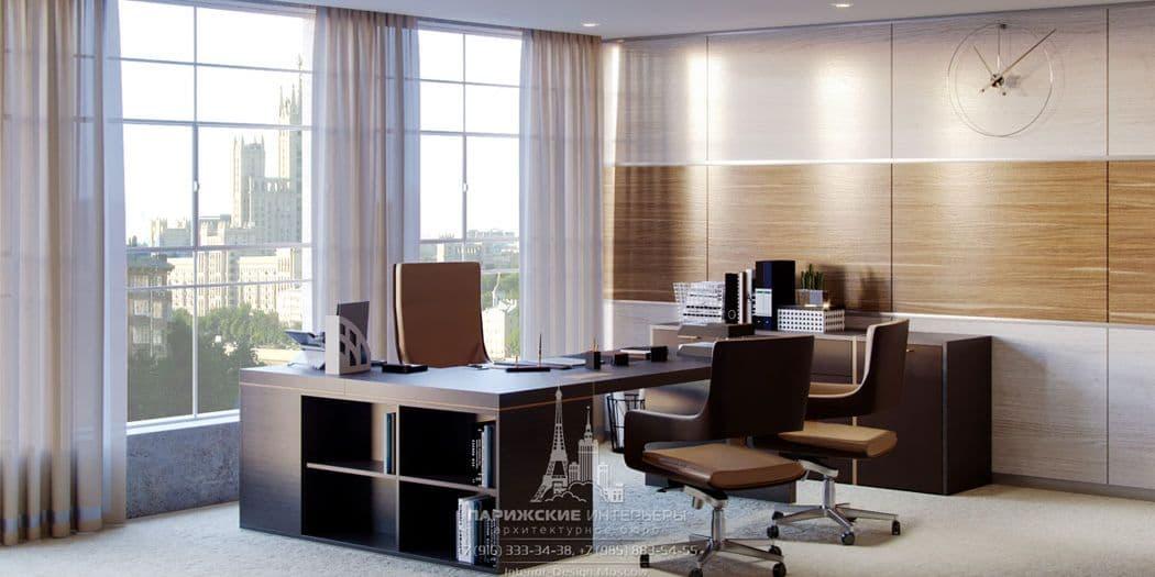 Дизайн офиса в бежево-коричневой гамме. Стол руководителя