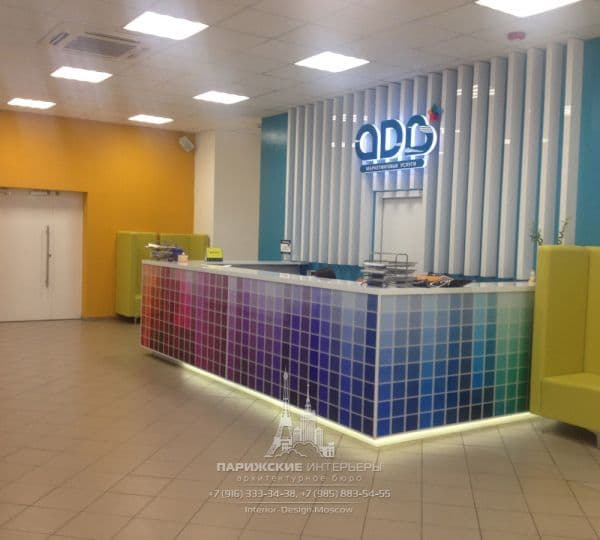 Дизайн офиса в современном стиле. Фото зоны ресепшн