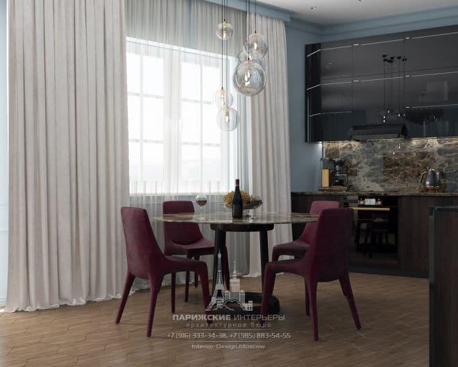 Океанский подарок. Бордовые акценты в московской 3-комнатной квартире