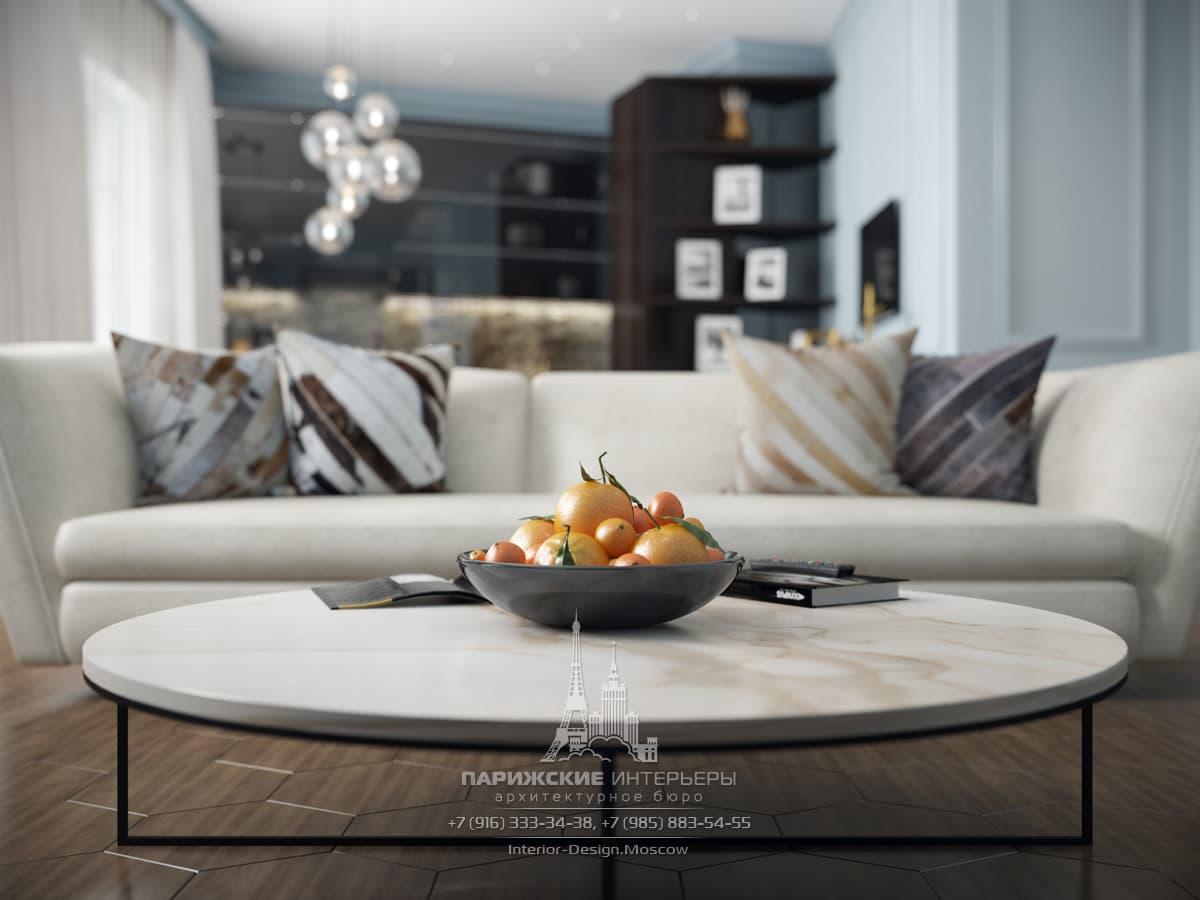 Интерьер гостиной в парижском стиле. Фото дизайн-проекта