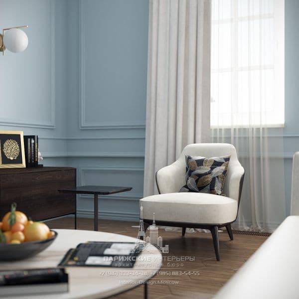 Дизайн гостиной в квартире в парижском стиле. Фото интерьера
