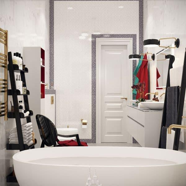 """Дизайн ванной комнаты в парижском стиле в ЖК """"Донской Олимп"""""""