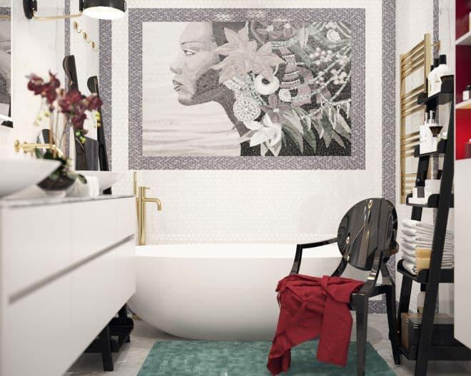 """Проект ванной комнаты в парижском стиле в ЖК """"Донской Олимп"""""""