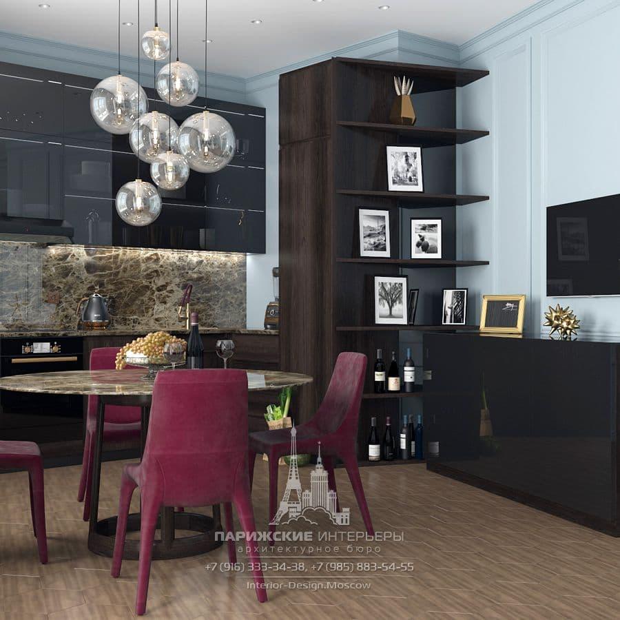 """Дизайн-проект кухни в парижском стиле в ЖК """"Донской Олимп"""""""