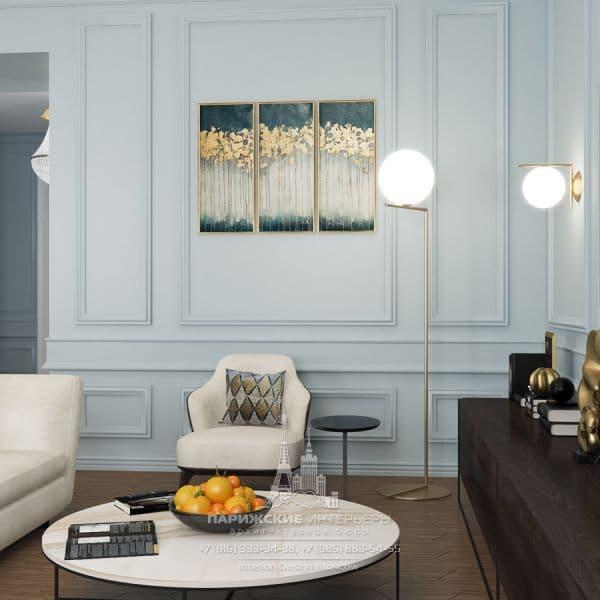 """Дизайн-проект гостиной в парижском стиле в ЖК """"Донской Олимп"""""""