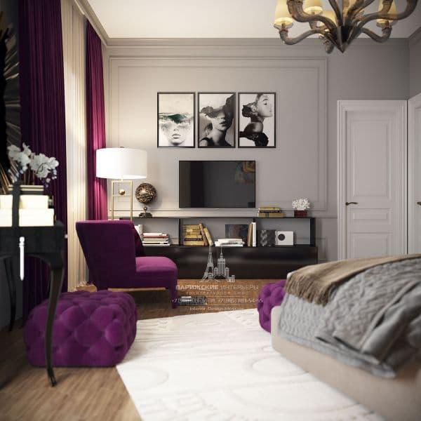 Спальня в парижском стиле. Фото 2018