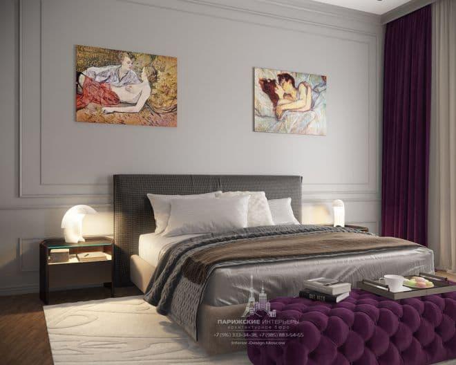"""Дизайн спальни в парижском стиле в ЖК """"Донской Олимп"""""""