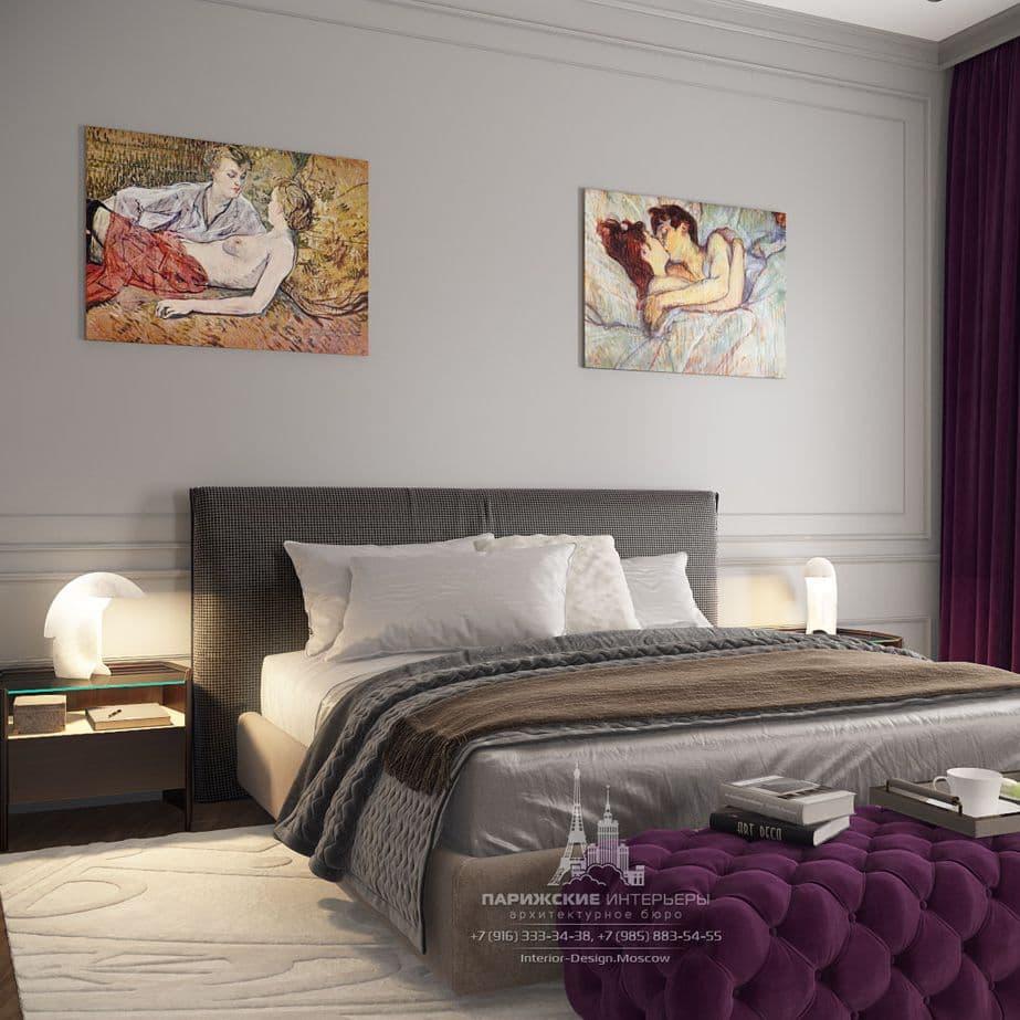 Интерьер спальни в парижском стиле. Фото 2018