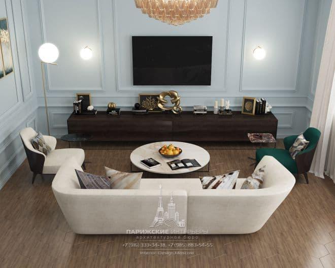 """Дизайн гостиной в парижском стиле в ЖК """"Донской Олимп"""""""