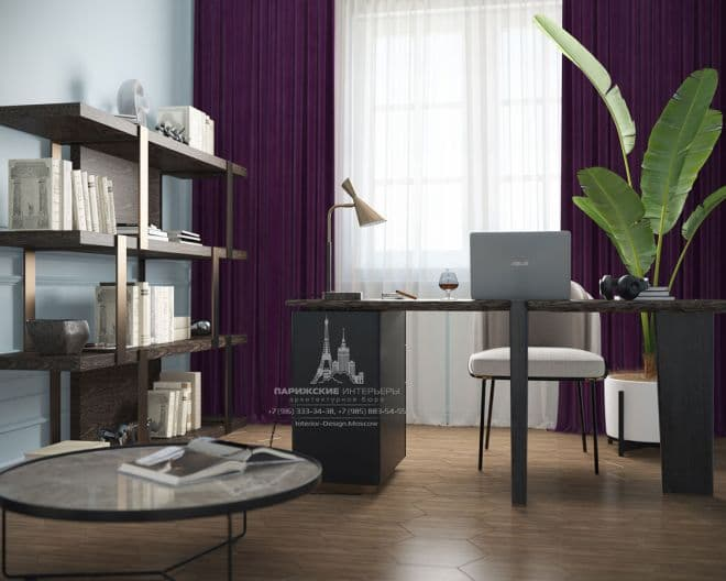 """Проект кабинета в парижском стиле в ЖК """"Донской Олимп"""""""