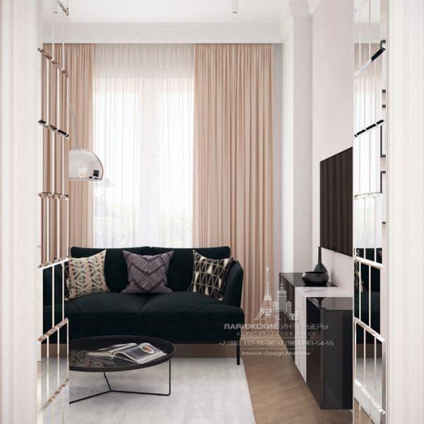 Дизайн светлой гостиной в парижском стиле