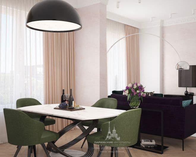 """Дизайн кухни-гостиной в современном стиле в ЖК """"Грин Парк"""""""