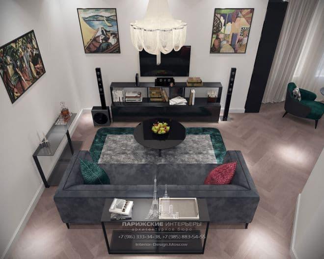 Проект гостиной в парижском стиле в новостройке на Ленинском