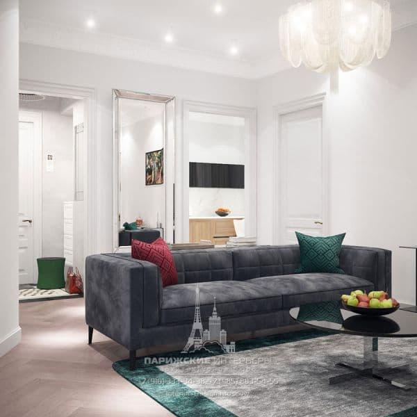 Дизайн гостиной в квартире в парижском стиле