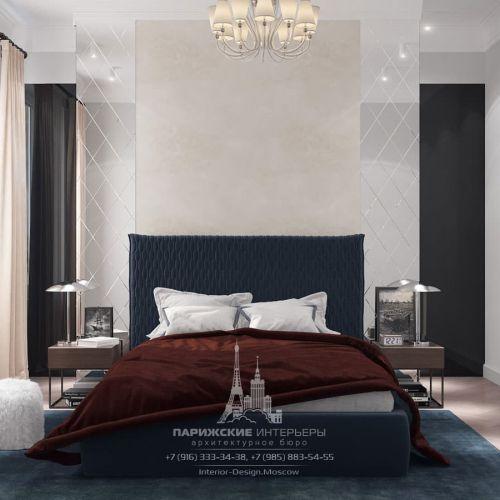 Дизайн-проект спальни в парижском стиле в новостройке на Ленинском