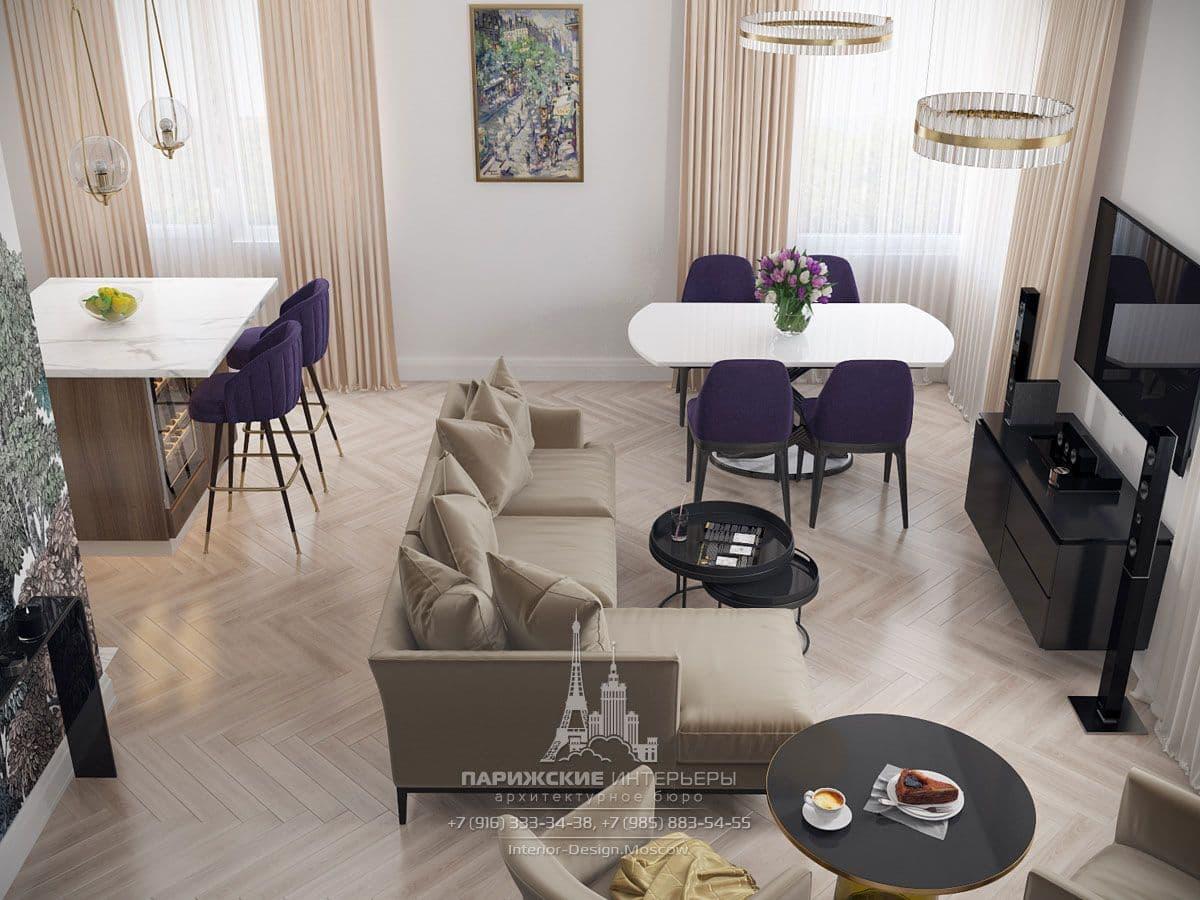 Студийное пространство небольшой квартиры в парижском стиле