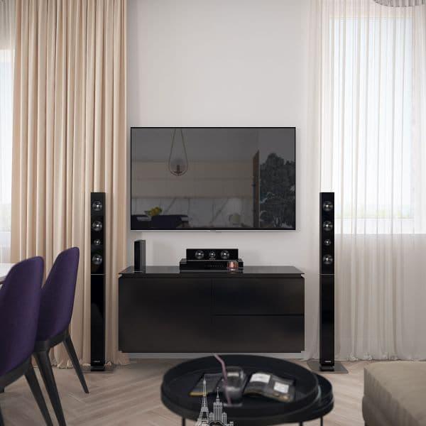 ТВ-зона в гостиной в парижском стиле