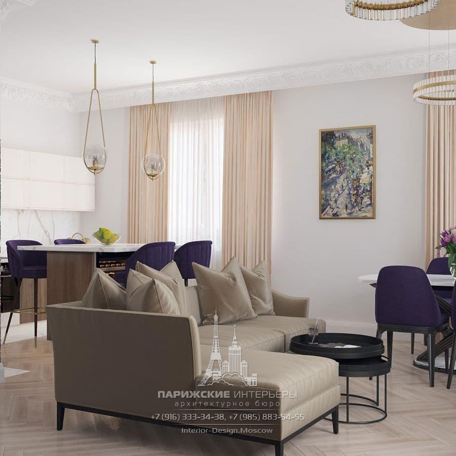 Интерьер кухни-гостиной в квартире в парижском стиле. Фото 2018