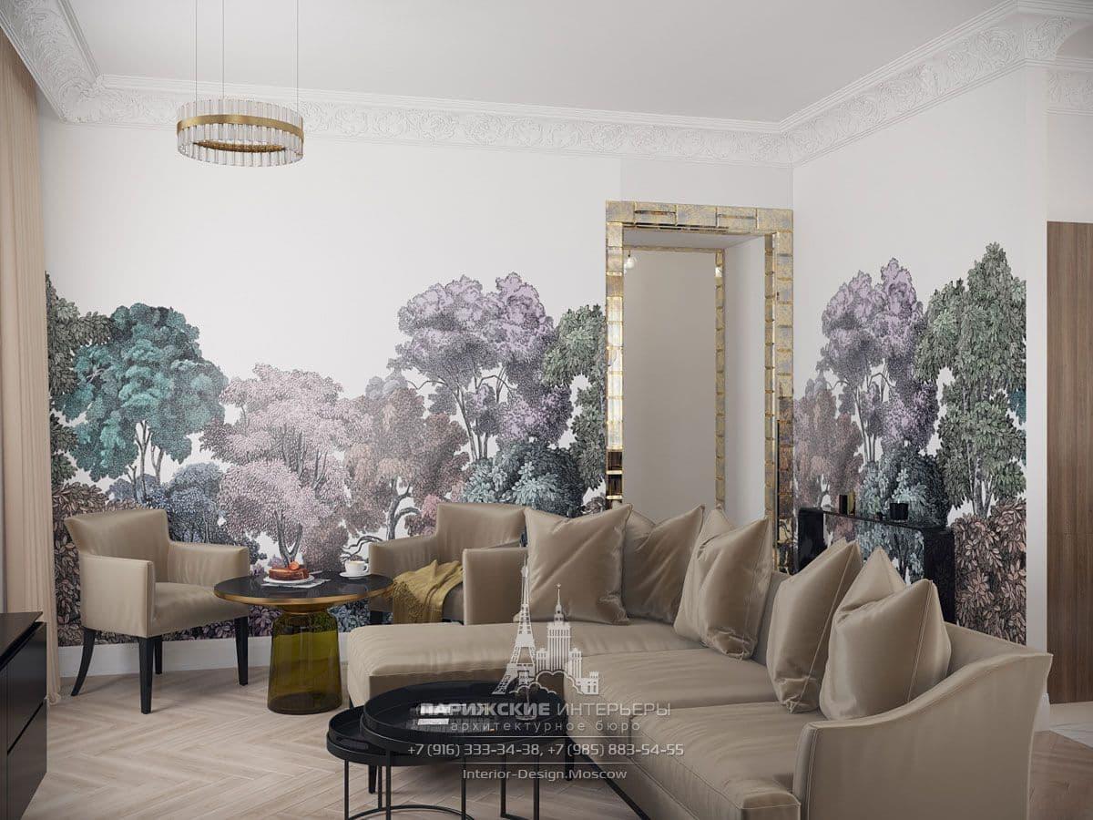 Дизайн квартиры в парижском стиле. Фото гостиной