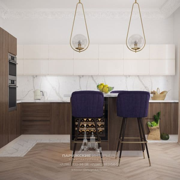 Кухня-гостиная в парижском стиле с островом