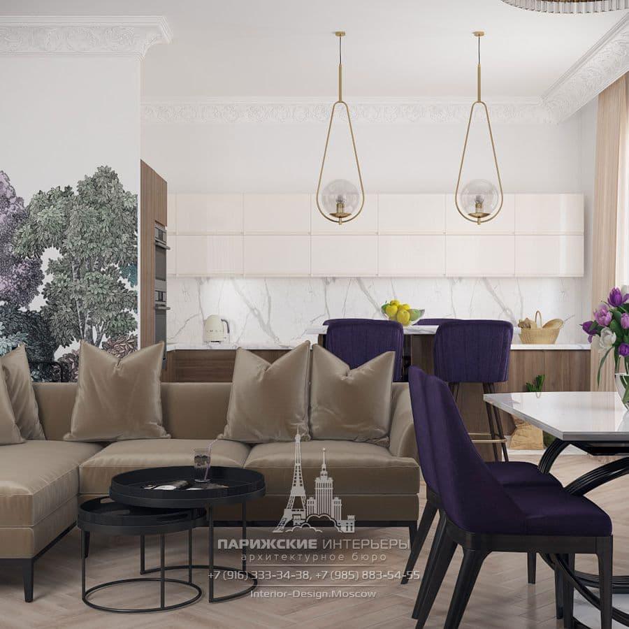 Проект кухни-гостиной в парижском стиле. Фото 2018