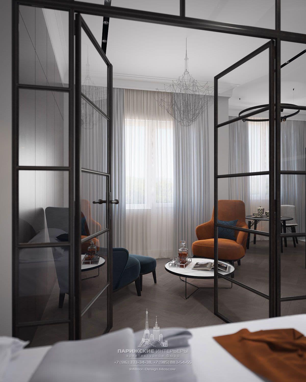 Модные шторы в интерьере современной мужской гостиной