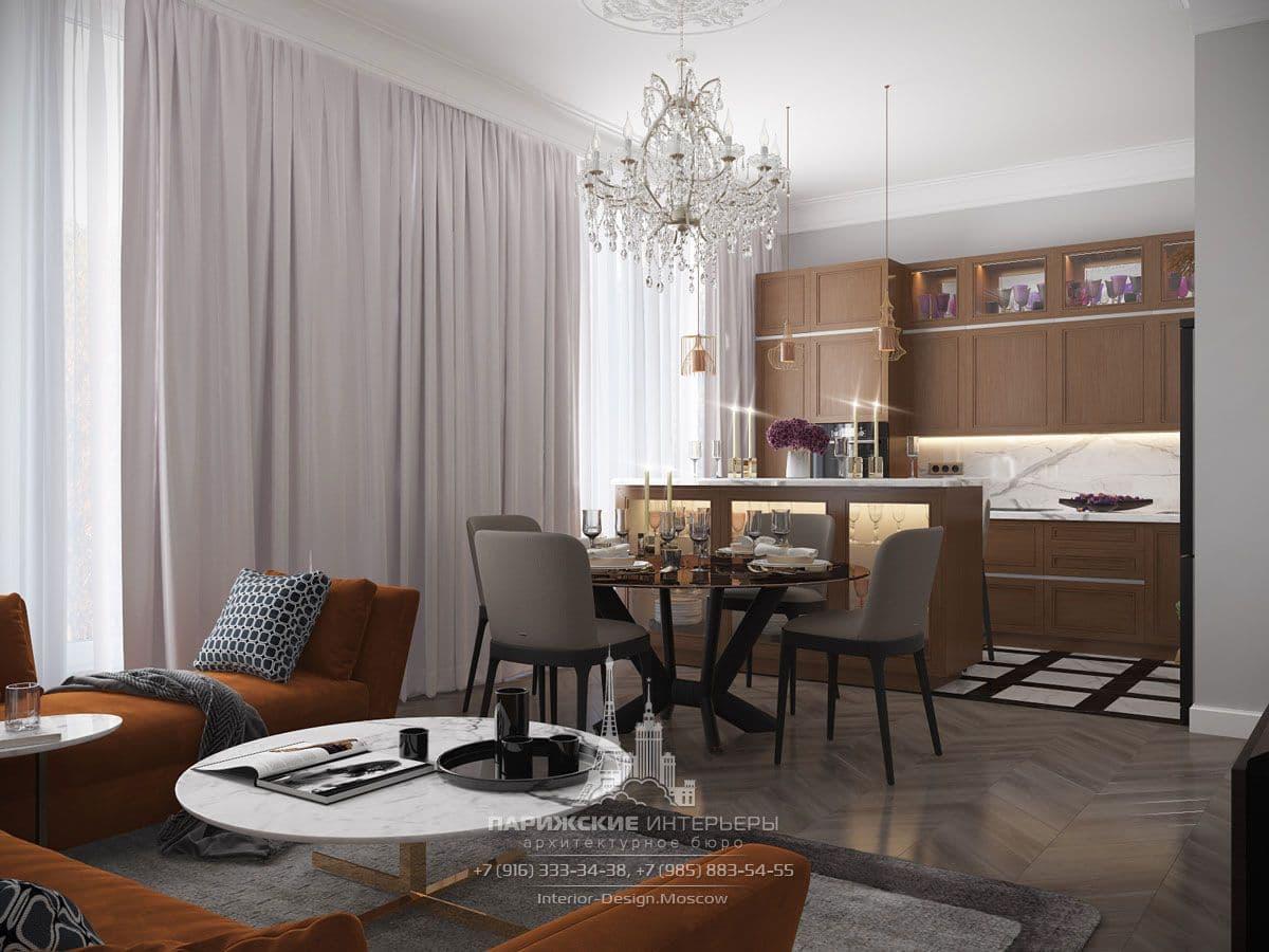 Светлые шторы в интерьере современной гостиной с элементами классики