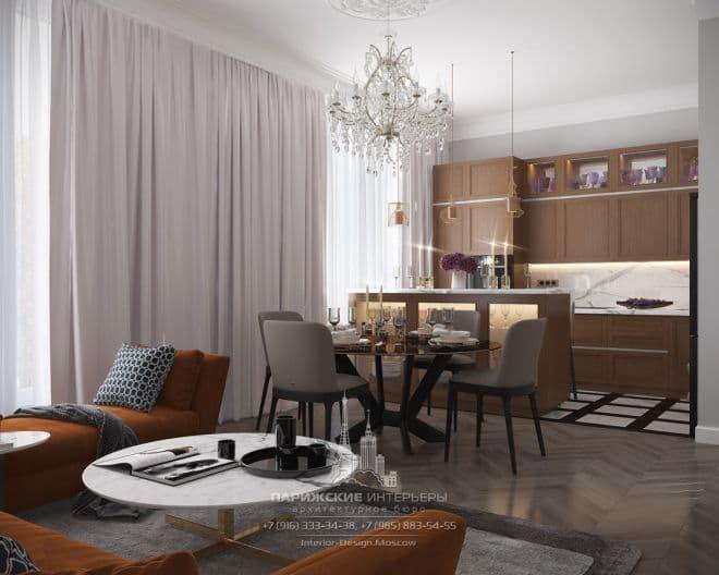 Яркие нотки в классической партитуре. Интерьер 3-комнатной квартиры в ЖК «Наследие»