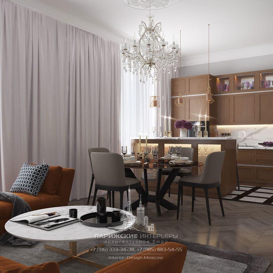 """Дизайн гостиной в квартире в ЖК """"Наследие"""""""