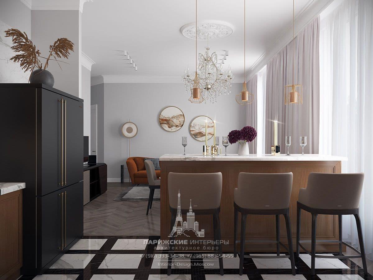 Дизайн гостиной с барной стойкой и светлыми шторами