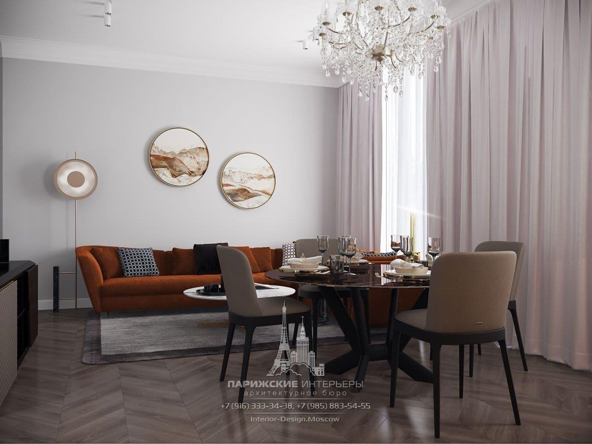 Дизайн современной гостиной со светлыми шторами во всю стену и столовой зоной